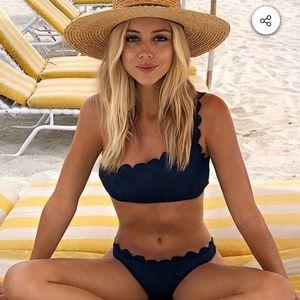One-shoulder, scalloped bikini